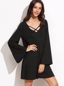 Black Double Lattice V Neck Bell Sleeve Dress