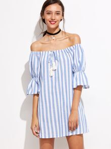 Blue Striped Tassel Tie Off The Shoulder Dress
