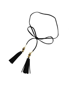 Black Pu Leather Choker Long Necklace