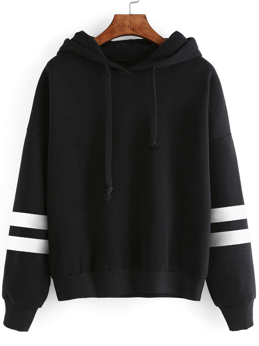 Varsity Striped Drop Shoulder Hooded Sweatshirt drop shoulder frill hem batwing sweatshirt