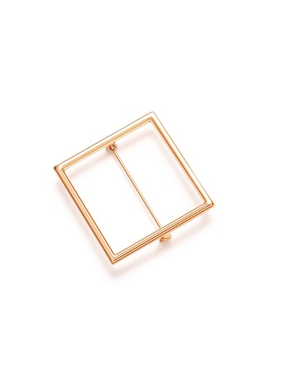 Gold Plated Square Hollow Out Brooch