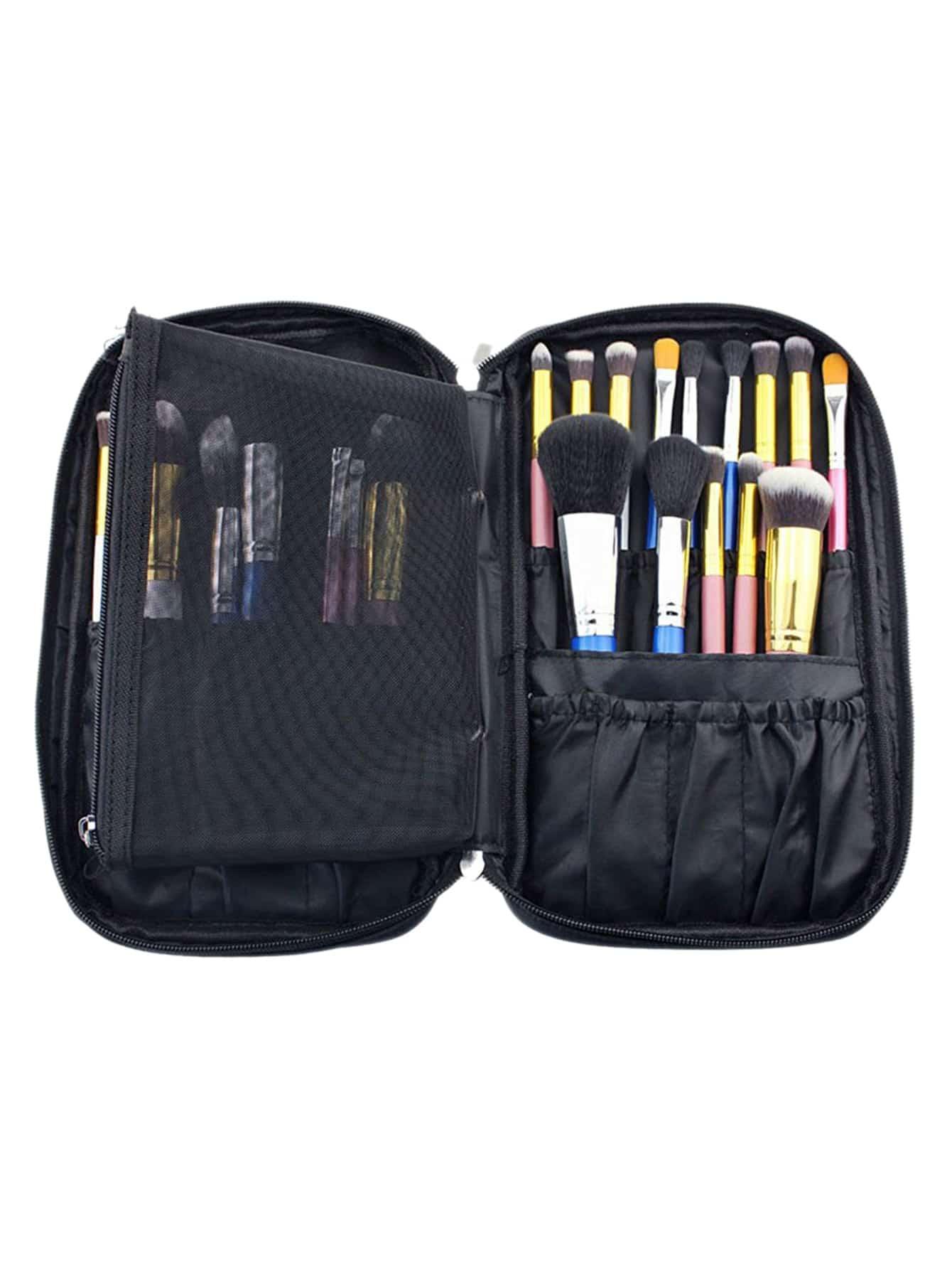 Фото Black Zipper Makeup Bag With Small Mesh Bag. Купить с доставкой
