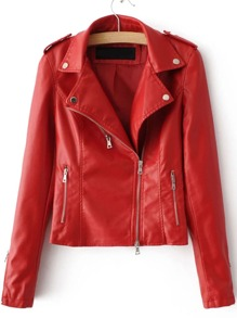 Red Oblique Zipper PU Moto Jacket