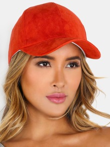 Adjustable Suede Baseball Hat DARK ORANGE