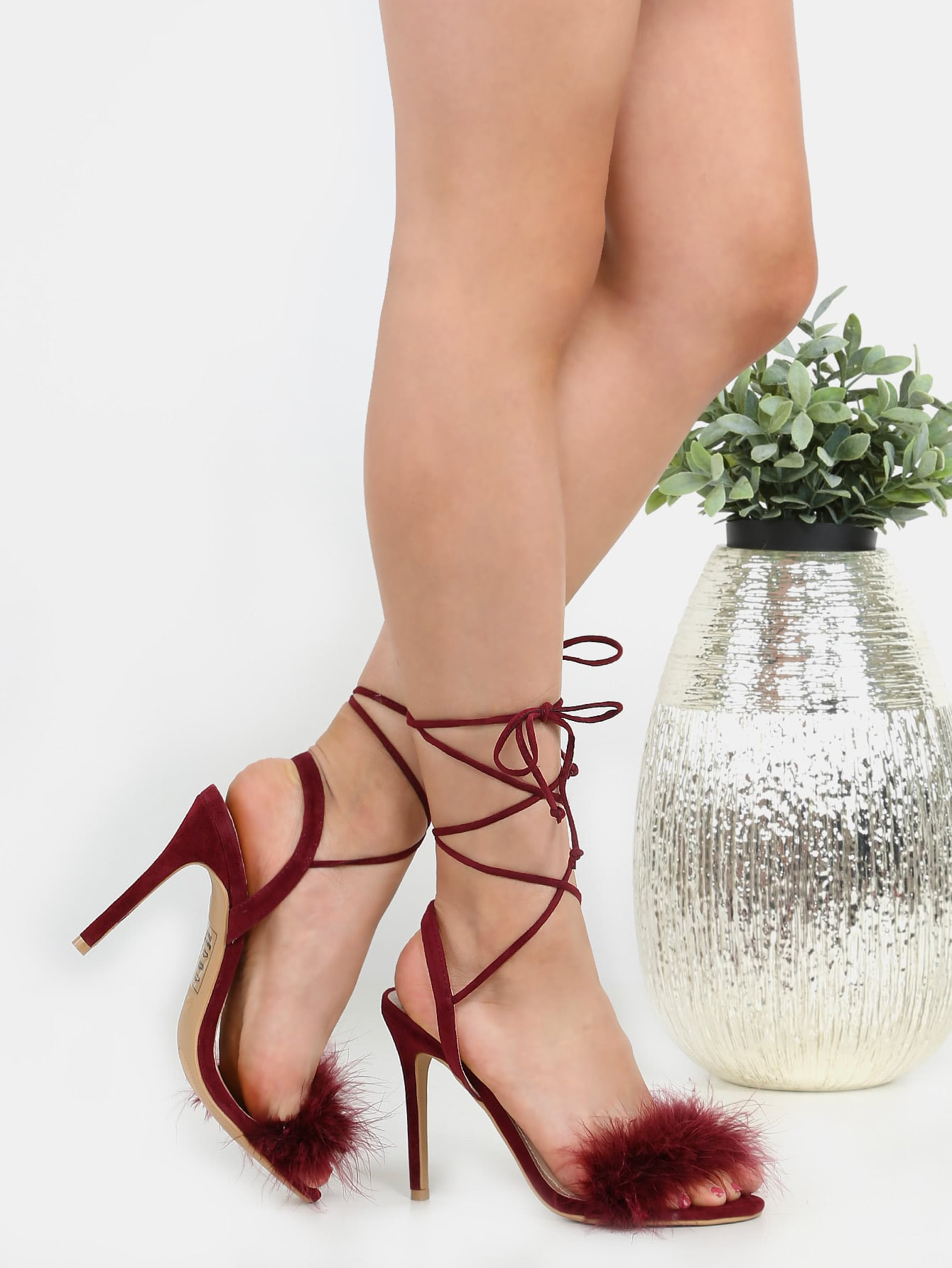 Фото Tie Up Stiletto Feather Heels BURGUNDY. Купить с доставкой