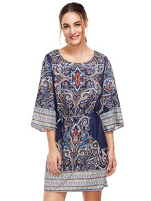 Tribal Print Self Tie Dress