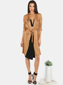 Waterfall Lapel Suede Belted Coat CAMEL