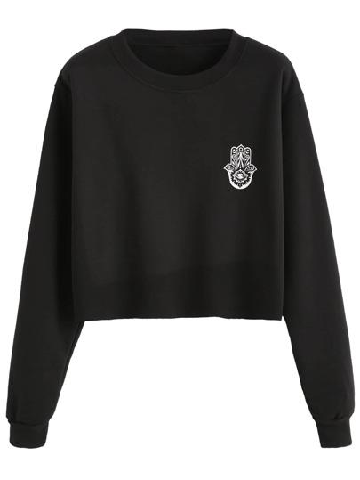 Black Print Crop Sweatshirt