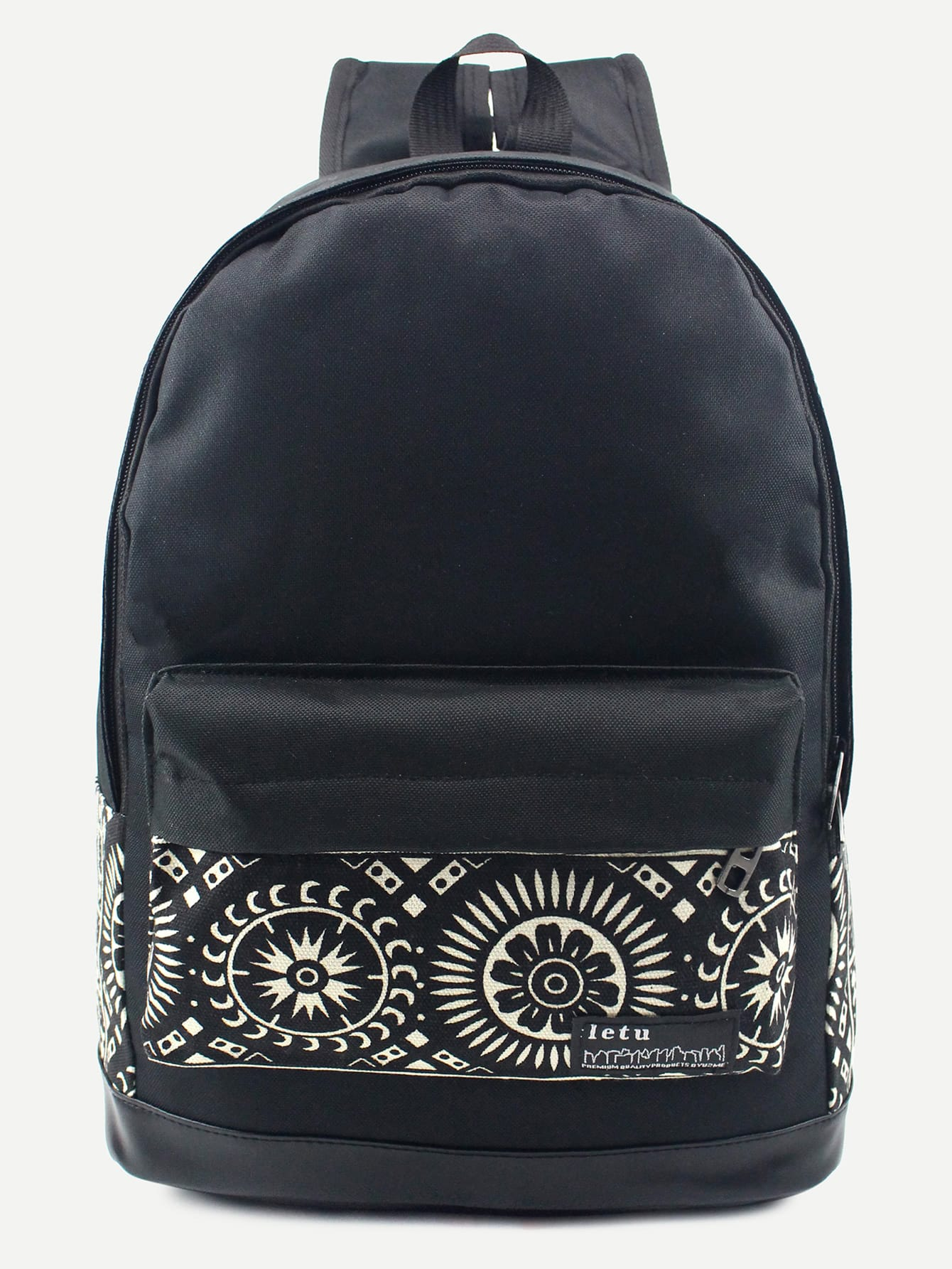 Фото Black Tribal Print Front Pocket Canvas Backpack. Купить с доставкой