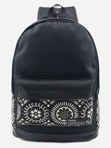 حقيبة ظهر قماش سوداء بطباعة قبلية