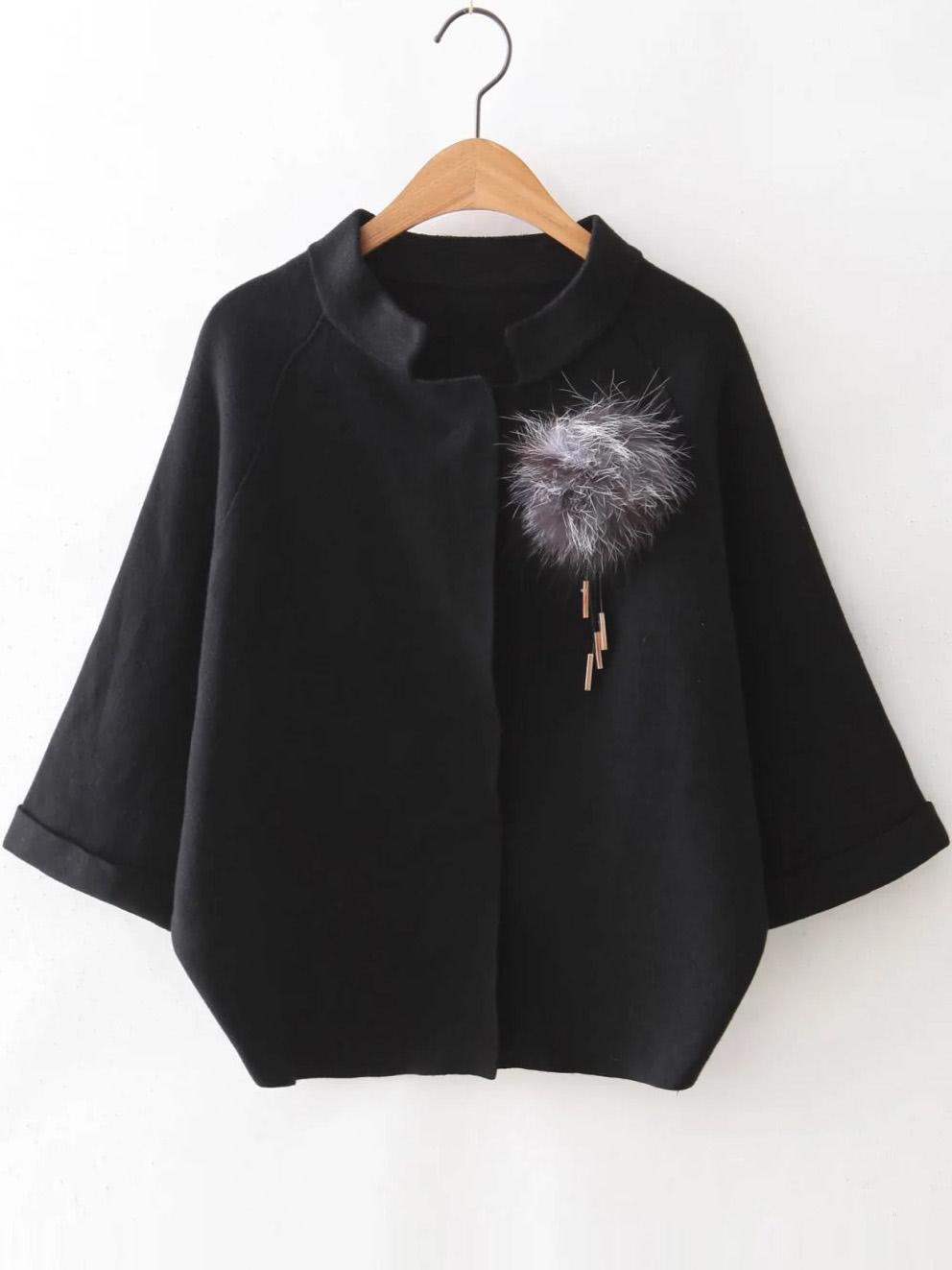 Black Raglan Sleeve Sweater Coat With Brooch
