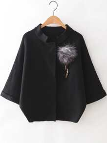 Black Raglan Sleeve Sweater Coat With Brooch