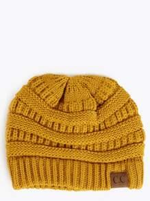 Knit Round Beanie MUSTARD