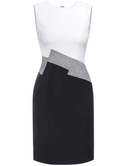 White Color Block Sheath Dress
