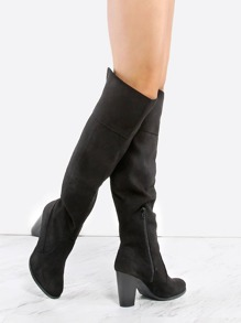 Faux Suede Chunky Heel Boots BLACK