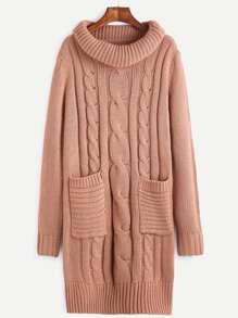 Robe pull col roulé tricoté en câble avec poche - rose