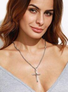 Silver Rhinestone Cross Pendant Necklace