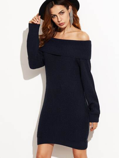 Navy Fold Over Off The Shoulder Sweater Dress