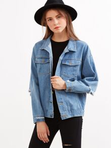 Blue Letter Print Ripped Denim Jacket