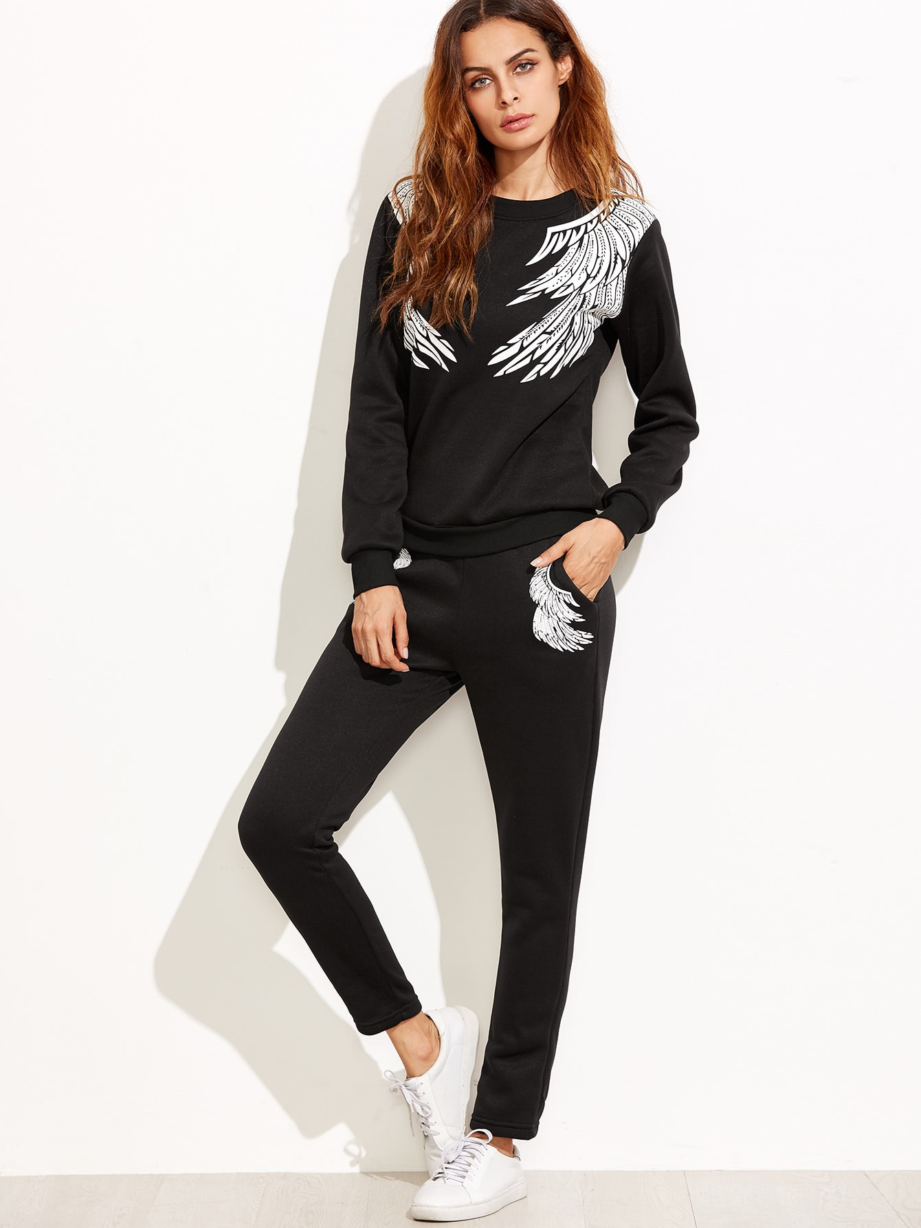 Angel Wings Print Sweatshirt With Pants twopiece160907301