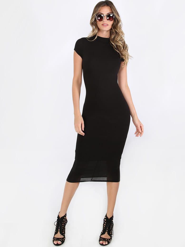 Black High Neck Short Sleeve Sheath Midi Dress mmcdress-bd7491a-black