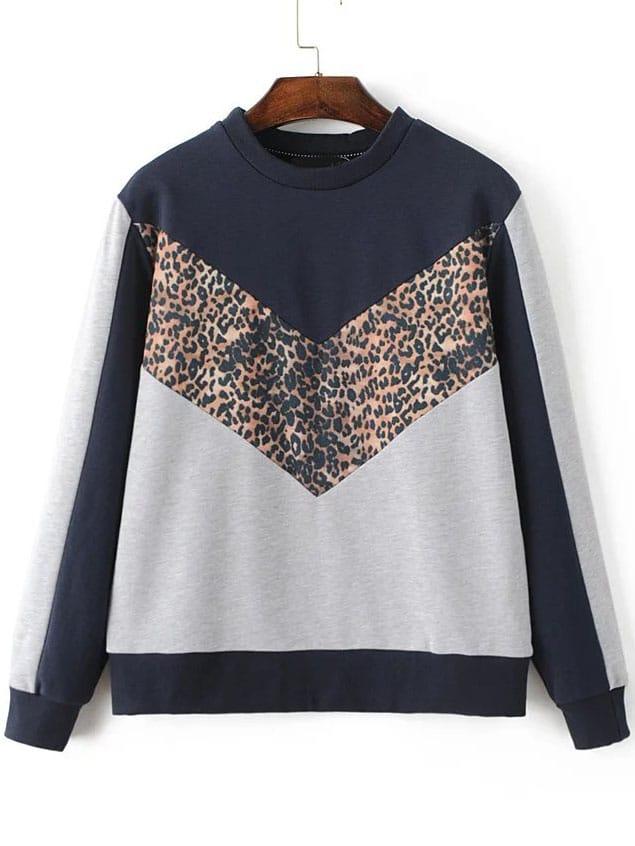 Color Block Crew Neck Sweatshirt sweatshirt160912201