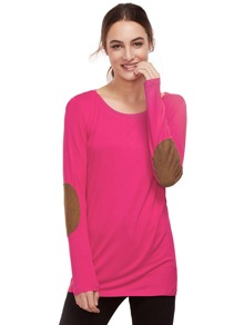 Hot Pink Long Sleeve Elbow Patch T-Shirt