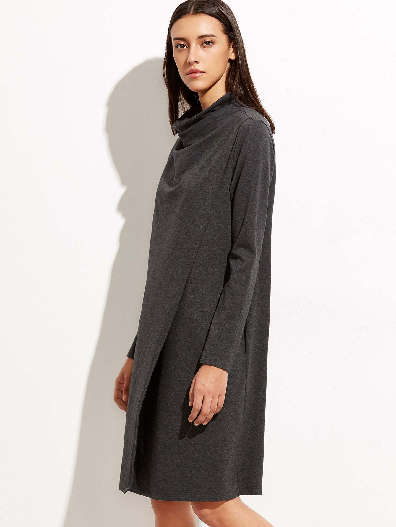 Heather Grey Cowl Neck Long Sleeve Shift Dress