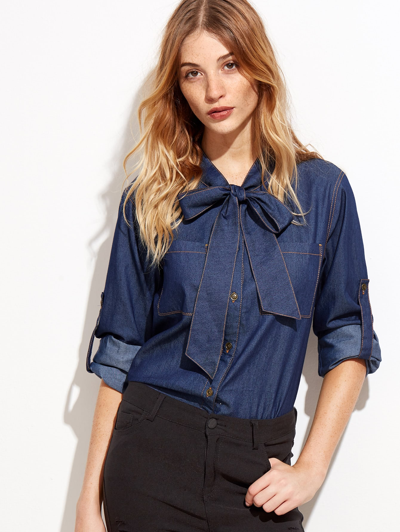 Navy Tie Neck Roll Sleeve Chambray Blouse
