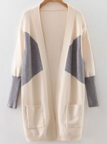 Beige Color Block Ribbed Trim Cardigan With Pockets