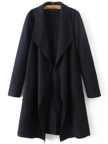 Navy Waterfall Collar Wool Blend Coat