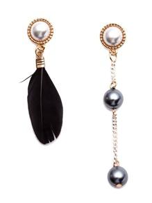 Black Feather Faux Pearl Metal Ball Asymmetrical Earrings