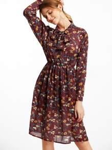 Florals Tie Neck Chiffon Shirt Dress