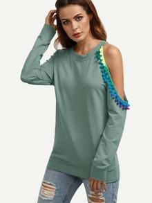 Green Asymmetric Open Shoulder Sweatshirt With Pom Pom Detail