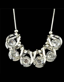 Silver Crystal Statement Necklace