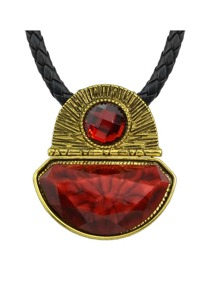 Red Pu Chain Pendant Necklace