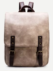 Apricot PU Double Buckle Strap Flap Backpack