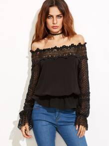 Black Hollow Out Crochet Sleeve Off The Shoulder Peplum Top