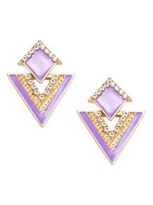 Purple Rhinestone Geometric Stud Earrings