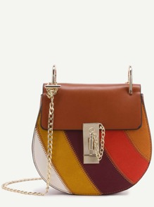Color Block Faux Leather Flap Saddle Bag With Chain