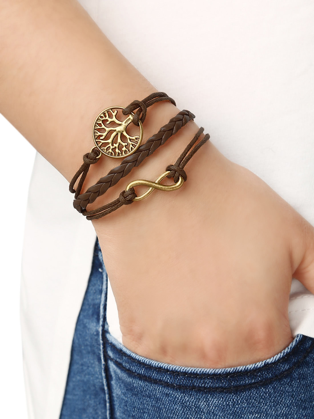 Brown Braid Tree Bracelet