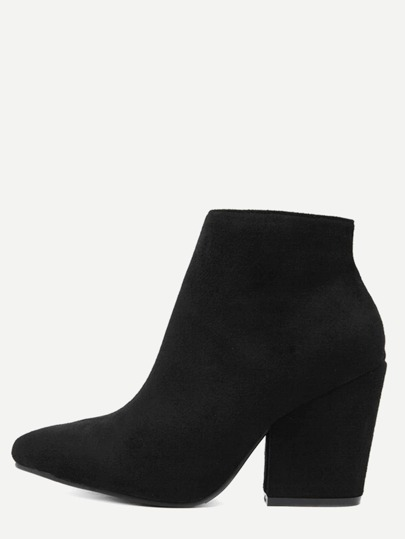 Black Faux Suede Point Toe Chunky Heel Ankle Boots