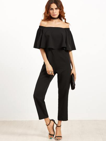Black Off The Shoulder Ruffle Jumpsuit