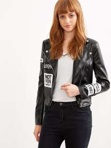 Black Zipper Patch PU Crop Jacket