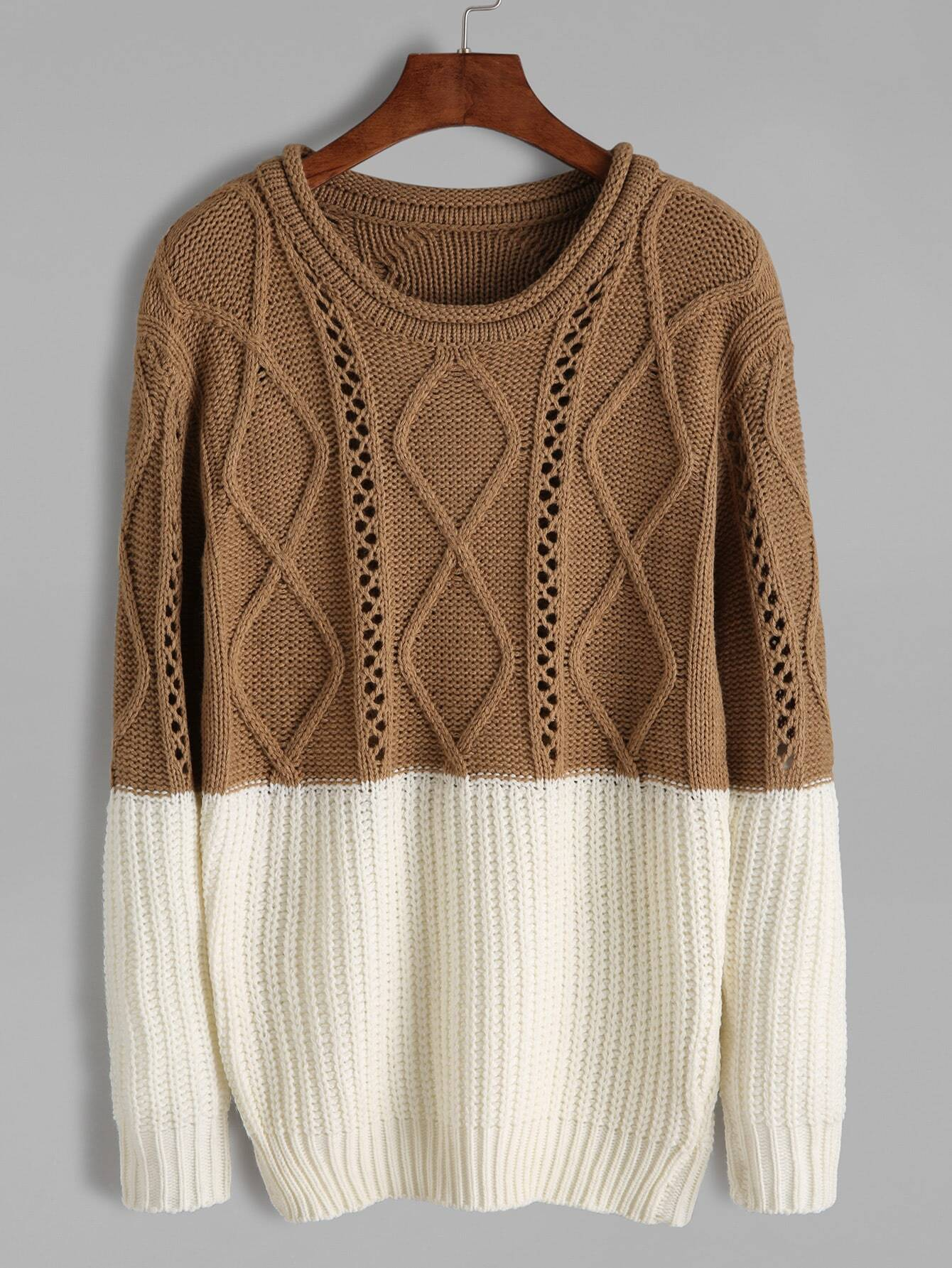 Contrast Mixed Knit Pullover Sweater sweater160929462