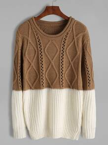 Contrast Mixed Knit Pullover Sweater