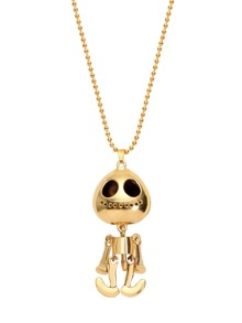 Gold Plated Alien Skull Head Pendant Sweater Necklace