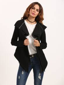 Black Drape Collar Asymmetric Jacket With Zip Detail
