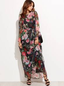 Random Flower Print Self Tie Chiffon Dress