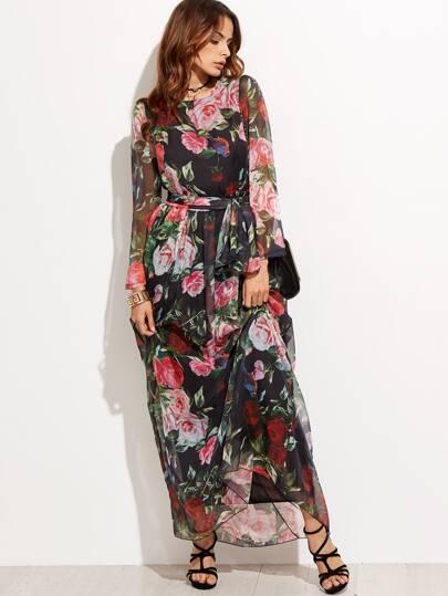 Random Flower Print Self Tie Chiffon Dress